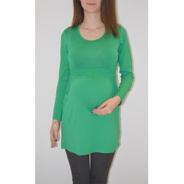 Maternity Green Round Neck Long Sleeve Tunic Top