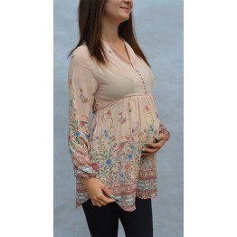 Maternity Beige-Pinky Tunic Top with Fresh Flowers