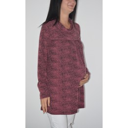 Maternity Dark Purple Long Sleeve Tunic Top