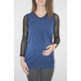 Maternity Top in Blue Gamma of Small Square Shapes