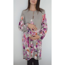 Maternity Grey Tunic Top with Colourful Flower Accent