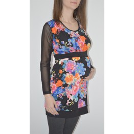 Maternity Colourful Flowers Print Tunic Top with Tulle Sleeves