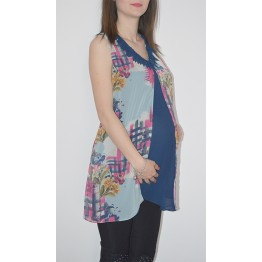Maternity Tunic Top in Dark and Light Blue
