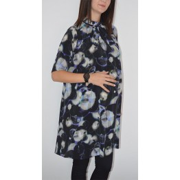 Maternity Black Tunic Top with Colourful Shapes