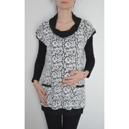 Maternity White Flowers Tunic Top with Black Cowl Neck