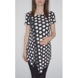 Maternity Black Top with White Dots and Lace Decoration