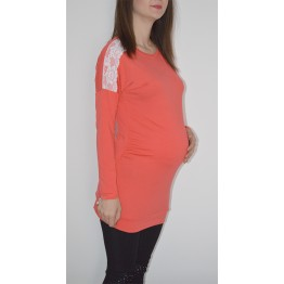 Maternity Watermelon Shoulder White Lace Tunic Top