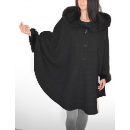 Maternity Black Relief Textile Coat